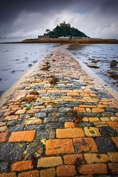 The brick causeway to St Michael's Mount, Cornwall