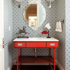 One to brighten your Monday morning! #powderroom #bright #red #vanity #wallpaper #marble #bathroom #powderroomwithatwist #cheerful #bling #mirror #happymonday #plumbing #bathroomideas #brownsplumbingandgas #australia Pic from Pinterest by brownsplumbingandgas Bathroom designs.
