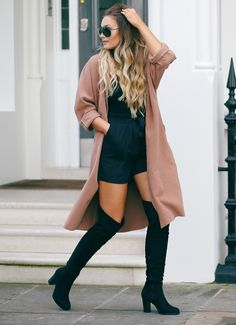 These sleek black over the knee boots look great with an oversized beige coat and shades. Via thatpommiegirl.Top, Shorts,Coat, Boots: Boohoo.