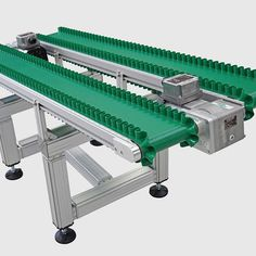 Small electrical parts are transferred from a production machine via the take away to the packaging room. The corrugated side wall belts help guide the parts safely and without damage. The substructure is integrated from the Quick-Set framing system, size Barn Kits, Filing System, Side Wall, Transportation, Track, Industrial, English, Band, Waves