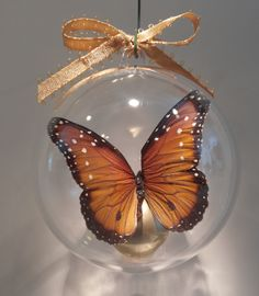 """Danice bernice"" from Kansas      This butterfly is in the monarch family 80 mm  clear ornament $15.00 US"