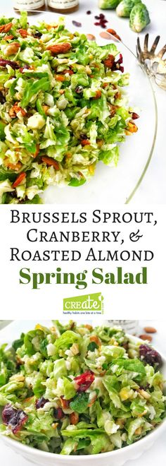 Brussels sprout, Cranberry, & Roasted Almond Salad the perfect Spring or Summer salad (ad). This simple salad does not get soggy, the dressing can go on right away. Easy to make using kitchen hack provided for easily shredding Brussels sprouts. A dish to Salad Recipes Holidays, Easy Salads, Healthy Salad Recipes, Summer Salads, Savory Salads, Paleo Meals, Eat Healthy, Healthy Cooking, Keto Recipes