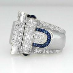 1930's Art Deco Huge Diamond & Sapphire Ring Platinum. | © 1998-2014 Ruby Lane Inc.