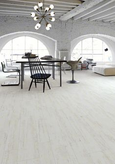 White Wood Effect Tiles - The Efeso Collection Interior Architecture, Interior And Exterior, Interior Styling, Interior Decorating, Dining Room Centerpiece, Warehouse Living, Wood Effect Tiles, Tile Suppliers, Dining Room Lighting
