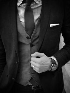 Striped Shirt, 1 Button Undone Vest, Great Texture