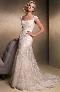 Bridal Gowns: Maggie Sottero A-Line Wedding Dress with Sweetheart Neckline and No Waist/Princess Seams Waistline