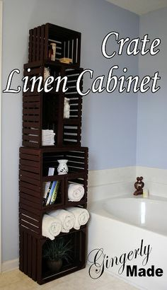 We took 6 old crates to make this linen cabinet for our master bath! >>
