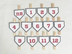 Baseball First Birthday Photo Clips - 1st Birthday Party - Baseball Theme - Newborn to 12 Months Photo Clips - First Year Photo Clips ***This item is MADE TO ORDER and ships in 3-5 business days from purchase*** These baseball theme photo clips are a perfect addition to your