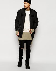 Image 4 of ASOS Longline Bomber With Patches In Black Insta: high0boy
