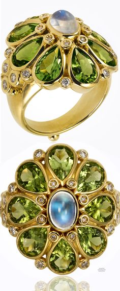 Temple St. Clair 18K Blossom Ring | Blue Moonstone, Peridot, Diamonds