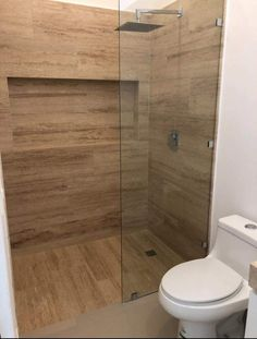 Delineated shower space with colour and texture. Delineated shower space with colour and texture. Restroom Remodel, Shower Remodel, Bad Inspiration, Bathroom Inspiration, Modern Bathroom Design, Bathroom Interior Design, Bathroom Toilets, Small Bathroom, Bathroom Ideas