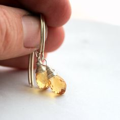 Faceted yellow citrine sterling silver by littlebugjewelry on Etsy, $40.00