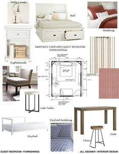 Furnishings concept board for an online design project/bedroom at a vacation house on Martha's Vineyard.