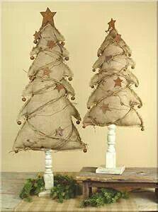 Primitive rustic burlap Christmas tree