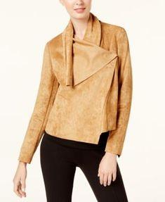 add26b2e5079e Anne Klein Asymmetrical Faux-Suede Jacket Women - Jackets - Macy s