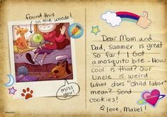 Gravity Falls Postcard As Party Invite