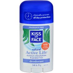Kiss My Face Deodorant Natural Active Life Fragrance Free Natural Active Life Aluminum Free - 2.48 oz