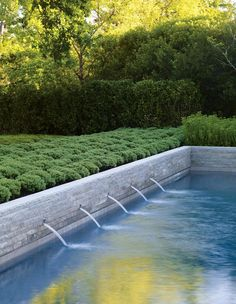 Water feature into pool, Andrea Cochran