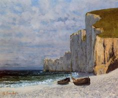 Avec Cliffs Bay, huile sur toile de Gustave Courbet (1819-1877, France)