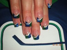 Vancouver Canucks Logo by DebsNails from Nail Art Gallery Fingernail Designs, Cool Nail Designs, Hockey Nails, Vancouver Canucks Logo, Fun Nails, Sport Nails, Green Glitter, Nail Art Galleries, Creative Nails
