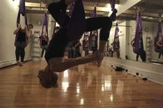 Aerial Yoga @ Fly Queen West w/ #TeamBench! #MyBenchAdventure #AdventureWithUs