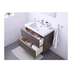 "GODMORGON/ALDERN / TÖRNVIKEN Vanity, countertop and 17 3/4"" sink, high gloss gray, white - 24 3/8x19 1/4x28 3/8 "" - IKEA"