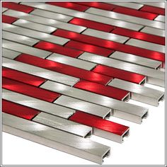 Aluminum Alloy Mosaic Tile to use with a red bathroom or kitchen accessories.
