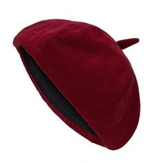 Yoins Yoins Suedette Octagonal Hat (21 PEN) ❤ liked on Polyvore featuring accessories, hats, burgundy, crown hat, round hat and burgundy hat