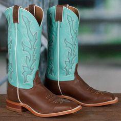 Justin Ladies' Turquoise Shaft Bent Rail Boots <3