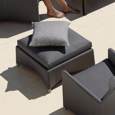 Diamond Footstool by Cane-Line Turn any outdoor lounging arrangement into a welcoming one with a modern footstool that invites kicked up feet for a restful and relaxing experience. Chic Living Room, Living Spaces, Deck Furniture, Furniture Ideas, Best Trade, Invites, Modern Design, Ottoman, Upholstery