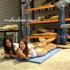 Mako Mermaids -  the 4:30 Show winners trying on the tails