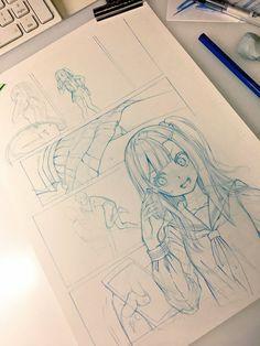 I like to think that Mordecai would sketch something like this - Anime and Manga World 2020 Anime Drawings Sketches, Anime Sketch, Manga Drawing, Manga Art, Cute Drawings, Manga Anime, Anime Art, Manga Tutorial, Comic Kunst