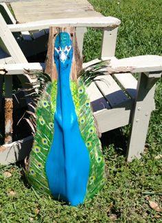 peacock~ Art painted on a palm seed pod leaf