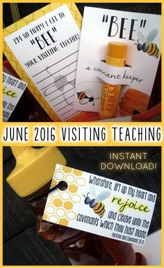 """June 2016 Visiting Teaching printables ... """"BEE"""" a covenant keeper!"""