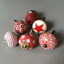 Set Of Assorted Red Drawer Knobs
