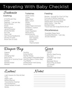 Free Download - Printable Traveling with Baby Checklist - What to pack for a road trip or vacation with an infant. Traveling with a baby is so much more fun when you're prepared!