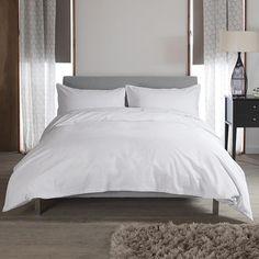 Carla Plain White Buttoned 100% Cotton Duvet Cover and Pillowcase Set