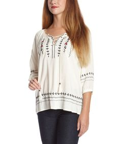 Look at this Natural Lace-Up Peasant Top on #zulily today!