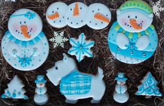 Blue Snowmen by Violeta at Cookie Connection