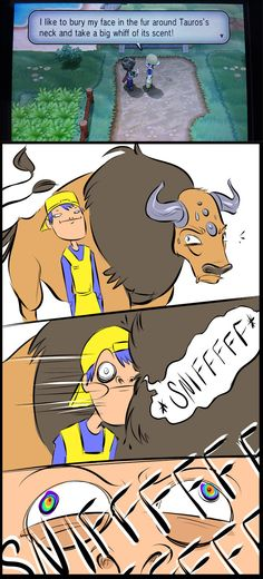 """""""I like to bury my face in the fur around Tauros's neck..."""" - Imgur"""