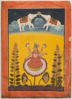 Maha-Laksmi on a lotus with lustrating elephants. Opaque watercolor, gold and silver on paper, Pahari, Basohli, Punjab Hills, Northern India, Late 18th century