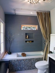 54 Delightful Bathroom Tub Shower Combo Remodeling Ideas - About-Ruth Bathtub Shower Combo, Shower Over Bath, Bathroom Tub Shower, Bath Tub, Bathroom Wall, Shower Window, Mosaic Bathroom, Bathroom Interior, Corner Tub Shower Combo