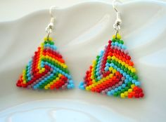 Beadwoven Triangle Earrings in Rainbow Colors, Geometric Earrings, Seed Bead Earrings, Triangle Peyote Earrings, Handmade Jewelry