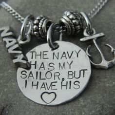 The Navy Has My Sailor But I have His Heart Anchor Necklace. $30.00, via Etsy.