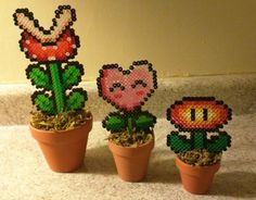 3-D Perler Plants in ceramic pots