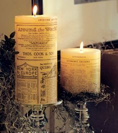 Tissue paper covered candles