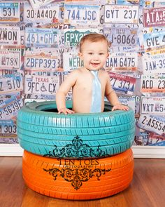 Painted Tires - Boy in Tie photography pose by www.tentoesphotography.com