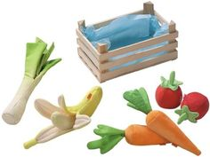 Haba Biofino Vegetable Basket by Haba. $22.49. * Age: 3+ * Materials: fabric food and wood basket * Measurements: basket 18 x 12 x 9 cm * Made in China Content: basket with 1 leek, 2 carrot, 1 banana, 2 tomatoes, Basket 18 x 12 x 9 cm. Save 55%!