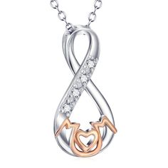 This lovely 925 sterling silver infinity mom pendant necklace is the perfect gift for Mom, no matter what the occasion. With cubic zirconia and 18K rose gold ac
