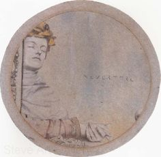 """Nevermore — a study of Khnopffs ink drawing """"La Rêveuse"""" Fernand Khnopff c. 1900 Pencil and coloured chalks, on grey paper 5 ¼ inches, centimetres Signed FERNAND KHNOPFF, lower. Austin Osman Spare, August Sander, Albert Bierstadt, Alfred Stieglitz, Arthur Rackham, Alphonse Mucha, Rodin, Maurer, Colored Chalk"""